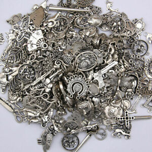 DIY Jewelry Craft Findings Wholesale 100g Antique Tibetan Silver Charms Pendants
