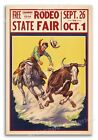 1930s Cowboy Rodeo Poster - State Fair Steer Wrestling - 16x24