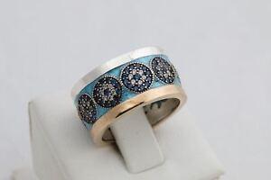 Faithful! Nazar Turkish Handmade Evil Eye Sapphire Topaz Sterling Silver Ring