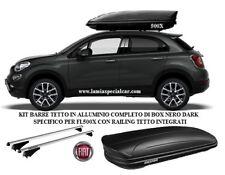 BAULE BOX TETTO 400 LT. NERO DARK + BARRE PORTAPACCHI SPECIFICO FIAT 500 X 500X.