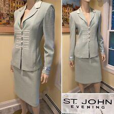 ST JOHN Sz 8/10 Med Light Green Metallic Thread Jeweled Stretch Knit SKIRT SUIT