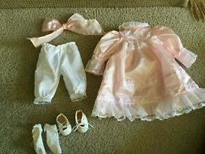 Doll Clothes Light Pink Satin Long Dress White Lace Trim, Hair Bow, Shoes