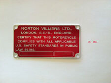 06.1286 Norton Commando Frame ID Plate, CERTIFICATION LABEL 06.1287