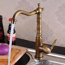 Antique Brass Kitchen Sink Bathroom Basin Mixer Tap Faucet Swivel Spout