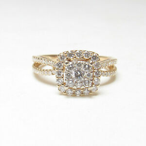 Estate 14K Yellow Gold 0.08 Ct Brilliant Cut Diamond Halo Ring 0.50 Cts Total