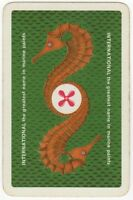 Playing Cards 1 Single Card Old INTERNATIONAL Marine Paint Advertising SEAHORSE