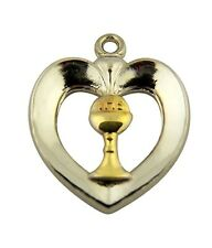 Sterling Silver First Communion Heart Pendant with Gold Tone Chalice, 3/4 Inch