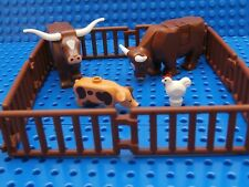 LEGO FARM ANIMALS SET ~ Minifigure Brown Cow Bull Chicken Pig & Pen Corral  NEW