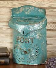 Decorative Metal Postbox Blue Mailbox Rustic Primitive Country Farmhouse Decor