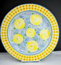 "Mary Engelbreit Gaetano Pottery Large 13 1/4"" Platter Yellow Blue Gingham Me"