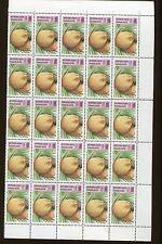 Togo Stamp Sheet - #1743 -8 / FRUIT COLLECTION Pears, Lemons, Banana ext - O35