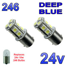 2 x Blue 24v LED BA15s 246 R10W 13 SMD Number Plate Interior Bulbs HGV Truck