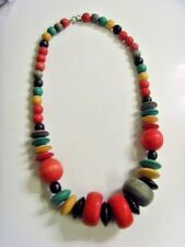 Safari Beads Necklace Retro Ats Fv573 Vintage Designer Large Gaudy Wood Colorful