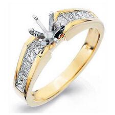 0.70 Ct Princess Cut Semi Mount Diamond G VS2 Engagement Ring 14k Yellow Gold