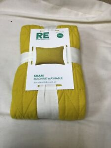 """New Standard Quilted Pillow Sham Yellow/Gold Room Essentials 20 x 26"""" Target"""