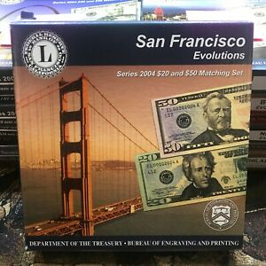 San Francisco Evolutions Series 2004 $20 & $50 Matching Set Complete W/ COA Box