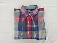 Nautica Mens Shirt Large Long Sleeve Multi Plaid  Button Front 1 Button Broken