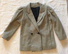 VINTAGE Medium Blazer WOOL Black Tan 80's Jacket Womens Coat Peacoat