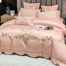 Bedding set 4pcs Pure cotton embroidery duvet cover flat sheet 2 pillowshams set