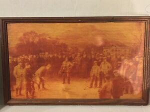 Vintage Golf Wood Print Antique 1880s(?) Photo on Wooden Plaque