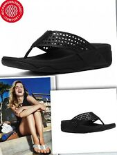 FitFlop Surfa Lattice Toe Post Leather Straps Microwobbleboard Black Sandals10 W