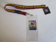 WASHINGTON REDSKINS BLUE LANYARD WITH TICKET HOLDER & COLLECTABLE PLAYER CARD