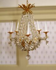 Phyllis Tucker Crystal Chandelier 5 Candles Gold - Artisan Dollhouse Miniature