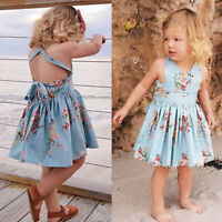 US Summer Toddler Kids Baby Girl Dress Floral Sleeveless Party Dresses 1-6T