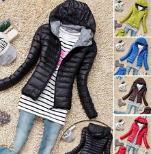 Winter Women's Slim Hooded Coat zipper Trench Jacket Parka Outwear Overcoat new