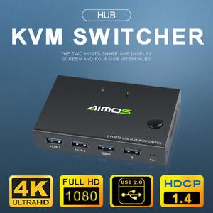 4K HDMI KVM Switch 2 Port USB HDMI KVM Switcher For Mouse&keyboard Sharing HDMI