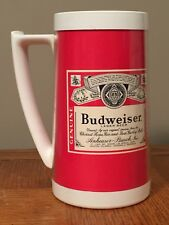 Budweiser Beer Mug Thermo Serv Plastic Insulated West Bend Made in USA Red White