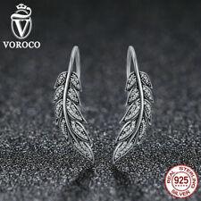 Voroco Loving Leaf 925 Sterling Silver Hook Dangle Earrings Crystal CZ Jewelry