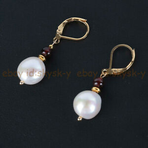 3-4mm Red Garnet & 9-10mm White Pearl Dangle Gold-plated Leverback Earrings