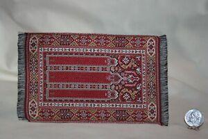 Miniature Dollhouse Vintage Handwoven Silk Islamic Prayer Rug 1:12 NR