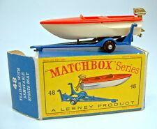 """Matchbox RW 48b Sports boat & tráiler rojo & Creme en """"d"""" box"""