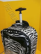 Pottery Barn Teen Zebra Stripe Jet Set Luggage Carry On Suitcase Black Dorm Bag