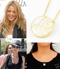 Celebrity Style Scroll Initial Letter A White Enamel Gold Chain Pendant Necklace