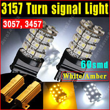 2X 3157 60SMD Dual Color Switchback White Amber Turn Signal LED Lights+Resistors