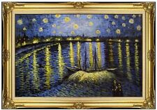 Framed Van Gogh Starry Night over Rhone Repro, Hand Painted Oil Painting 24x36in
