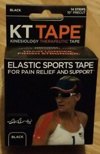 "KT Tape Kinesiology Therapeutic Elastic Sports Roll 14 Strips 10"" Precut Black"