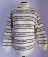 VTG Ladies Unbranded Cream/Brown Polo Neck Wool Nordic Jumper Size Medium (c18)