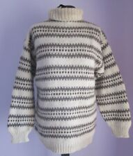 VTG Ladies Unbranded Cream/Brown Polo Neck Wool Nordic Jumper Size Medium (c18)