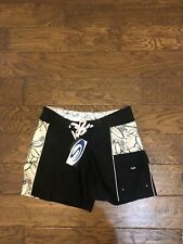 Sol Surf Co Unisex Board Shorts Size Small Black White Floral Sturdy