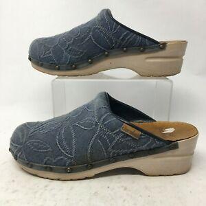 Dansko Womens 39 Sonja Casual Wedge Mule Clogs Blue Denim Floral Comfort Shoes