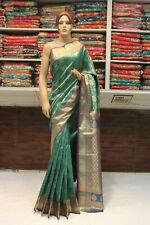 Indian Traditional Kanchipuram Silk Saree Handloom Green Sari Bridal Party Dress