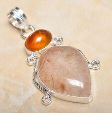 "Handmade Natural Rutilated Quartz Jasper 925 Sterling Silver Pendant 2"" #P11431"