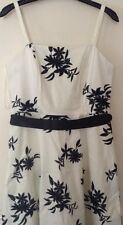 Bnwt🌹M & Co🌹Size14 Ivory &Black Embroidery Flower Dress Evening Cocktail New