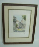 FRAMED SIGNED WATERCOLOUR PAINTING ~ PARIS ~ RUE NORVINS, MONTMARTRE 1987