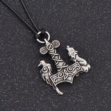 Halskette für Herren Neu Fashion Viking Kolkrabe Wolf Anhänger Schmuck Geschenk