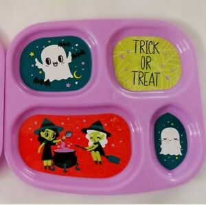 "Halloween Plates Black Orange Purple Pumpkin Witch Cat Kids Plastic 9"" Divided"